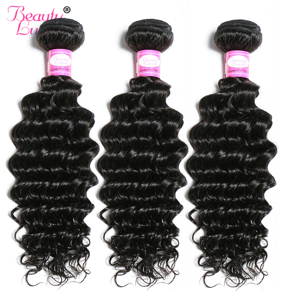 Brazilian Deep Wave Hair Weave Bundles 3 Bundles Deals Human Hair Extensions Beauty Lueen Non Remy Hair Extension Weft