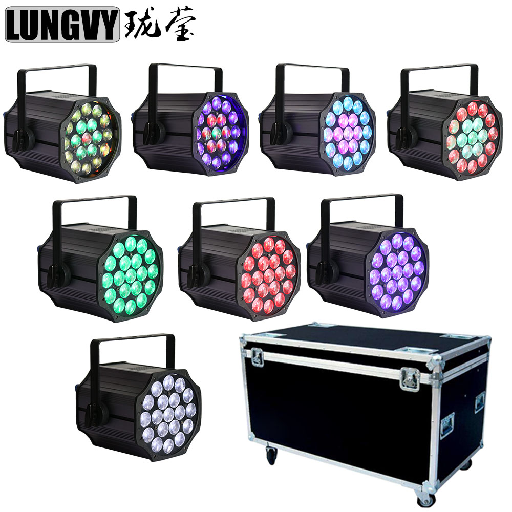 Free Shipping 8pcs/Lot With Flightcase Zoom Led Par Cans 19x12w RGBW 4 In1 Led Par 10 50 Degree Zoom Angle Stage Light Stage Lighting Effect     - title=