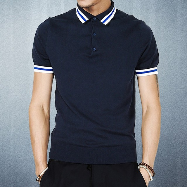 d016935e2 Spring And Summer Navy Blue Turn-Down Collar Short-Sleeve Sweater Polo  Shirts Fashion Men s Clothing Slim Fit Leisure Polo Homme