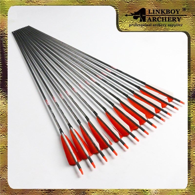 12pcs spine 600 Archery pure carbon arrows 5 inch turkey feather nock point complete arrows forbow hunting free shipping 12pcs 31 carbon arrow with turkey feather for recurve bows archery hunting 350 spine