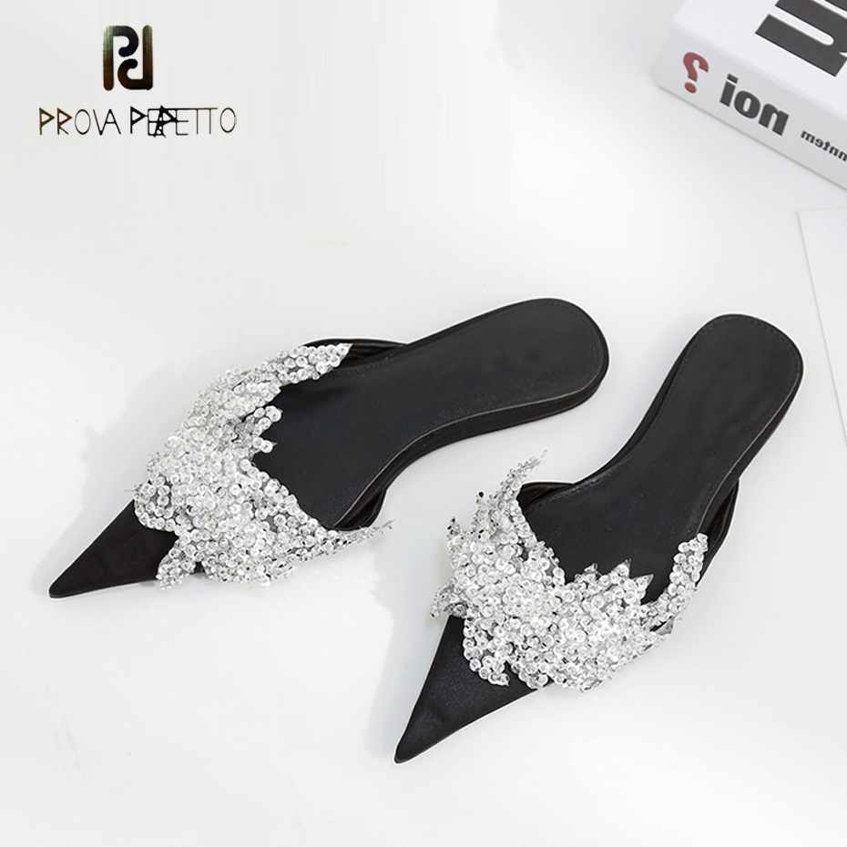 Prova Perfetto new design luxury bling bling crystal runway summer slippers women satin pointed toe rhinestone beach shoes mules simple satin and floral print design slippers for women