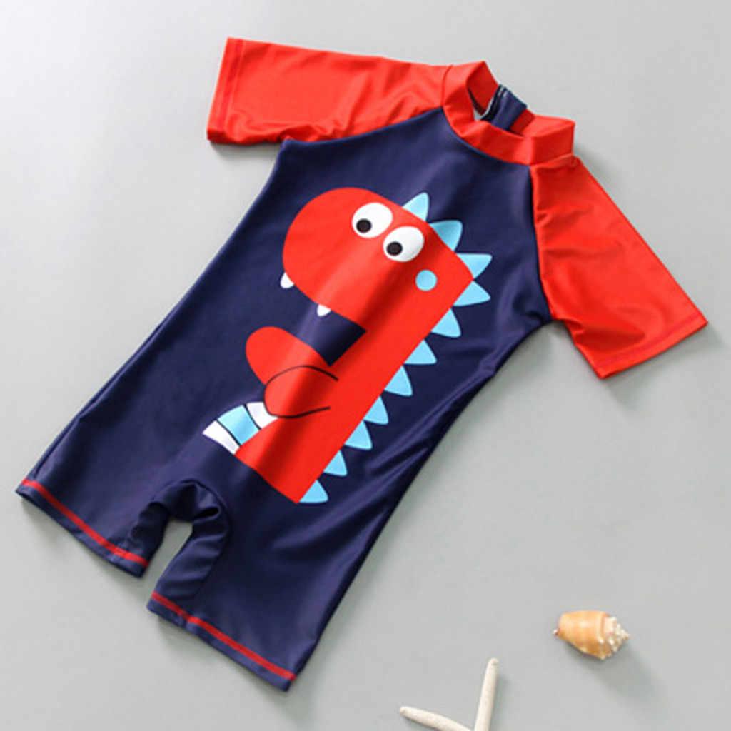ملابس سباحة صيفية للأطفال أولادي وبناتي موضة 2019 مع قلنسوة + قبعة ملابس سباحة على شكل ديناصور ملابس شاطئ للأطفال والرضع والأطفال P35