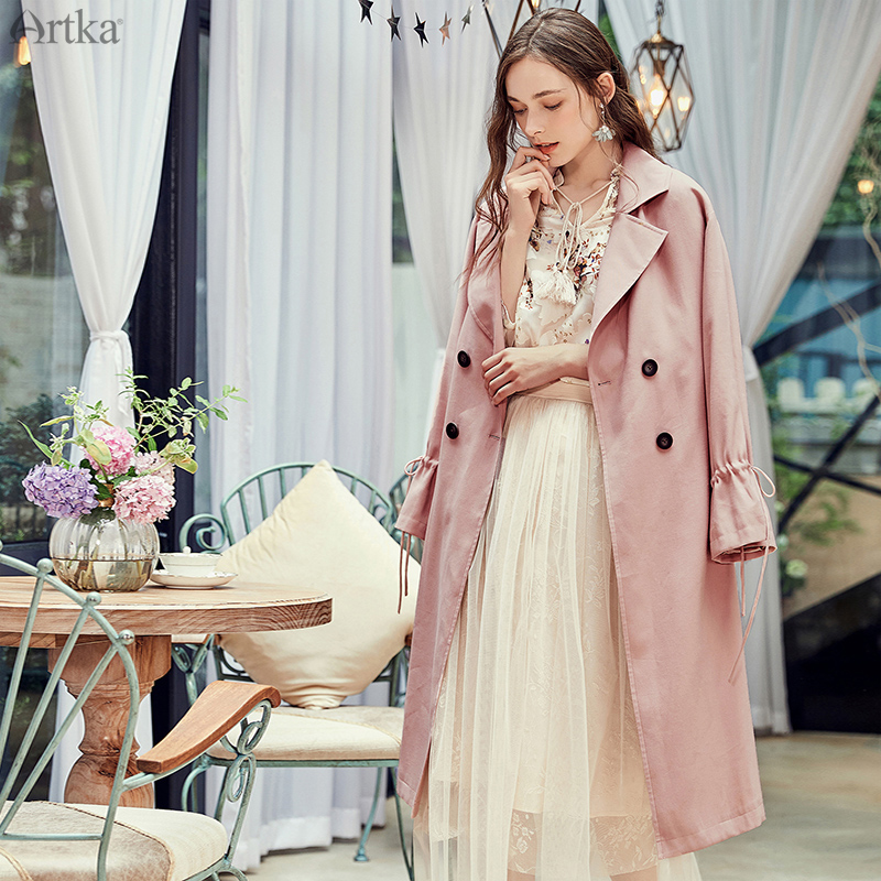 ARTKA 2019 Autumn New Women Coat Elegant Turn-down Collar Pink Windbreaker Casual Double Breasted   Trench   Coat With Belt FA15081Q