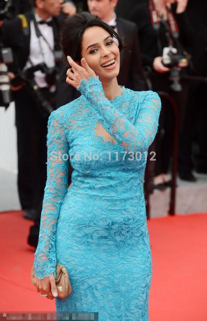 Cannes Vestido Bainha Manga Comprida Lace Celebridade Vestido de Alta Pescoço Vestidos de Festa À Noite Elegante