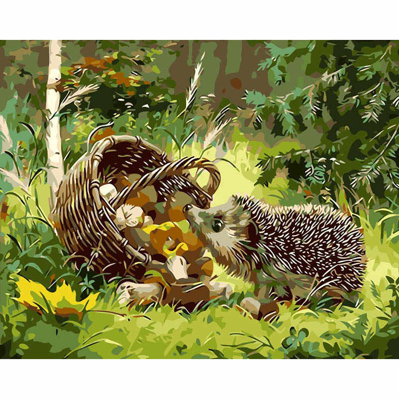 Diy Digital Painting By Numbers Grass Hedgehog Oil Painting Mural Kits Coloring Wall Art Picture Gift Frameless Paint By Number Aliexpress