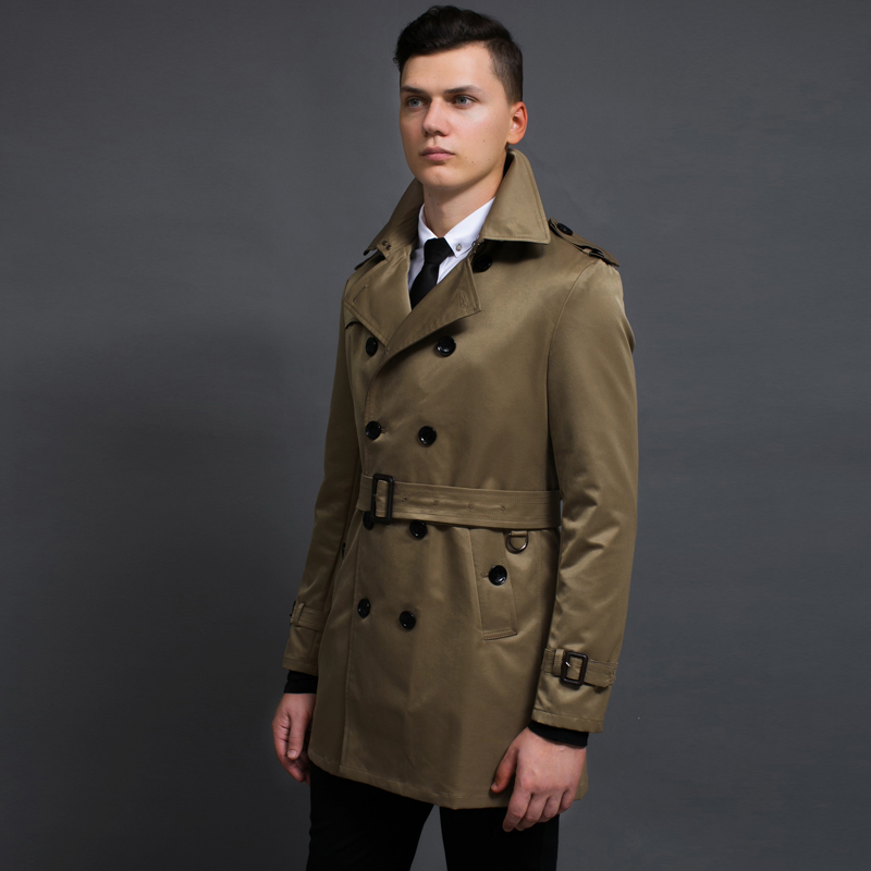 New Autumn Leisure Brand Trench Coats For men Fashion Long Sleeve Business Outerwear Men's Slim Double Breasted Windbreaker