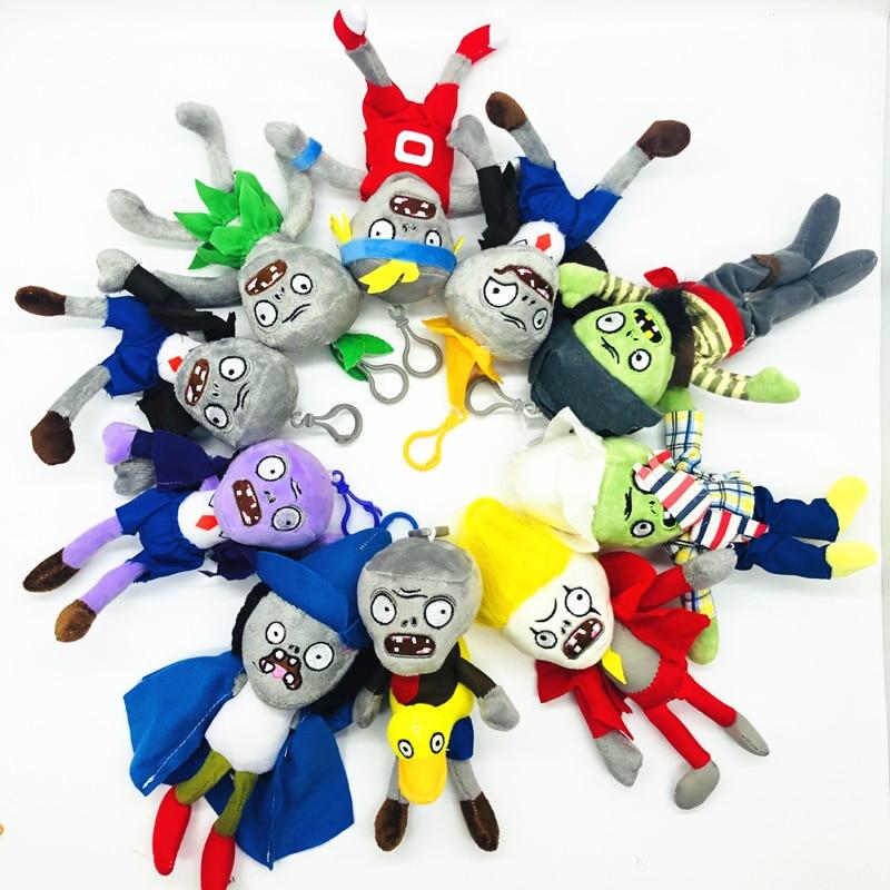 1pcs 18CM Plants Vs Zombies Plush Toys Pendant PVZ Zombies Plush Key Chain Toy Soft Stuffed Toys Doll For Children Kids Gifts