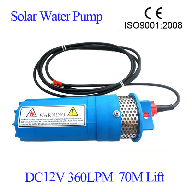 12V DC Submersible Water Pump 360LPH 230 Feet/ 70M Lift For Solar System