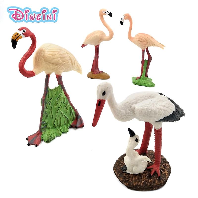 Kawaii simulação floresta flamingo figuras modelo animal pássaro estatueta de fadas pvc plástico artesanato decoração estátua brinquedo presente para crianças