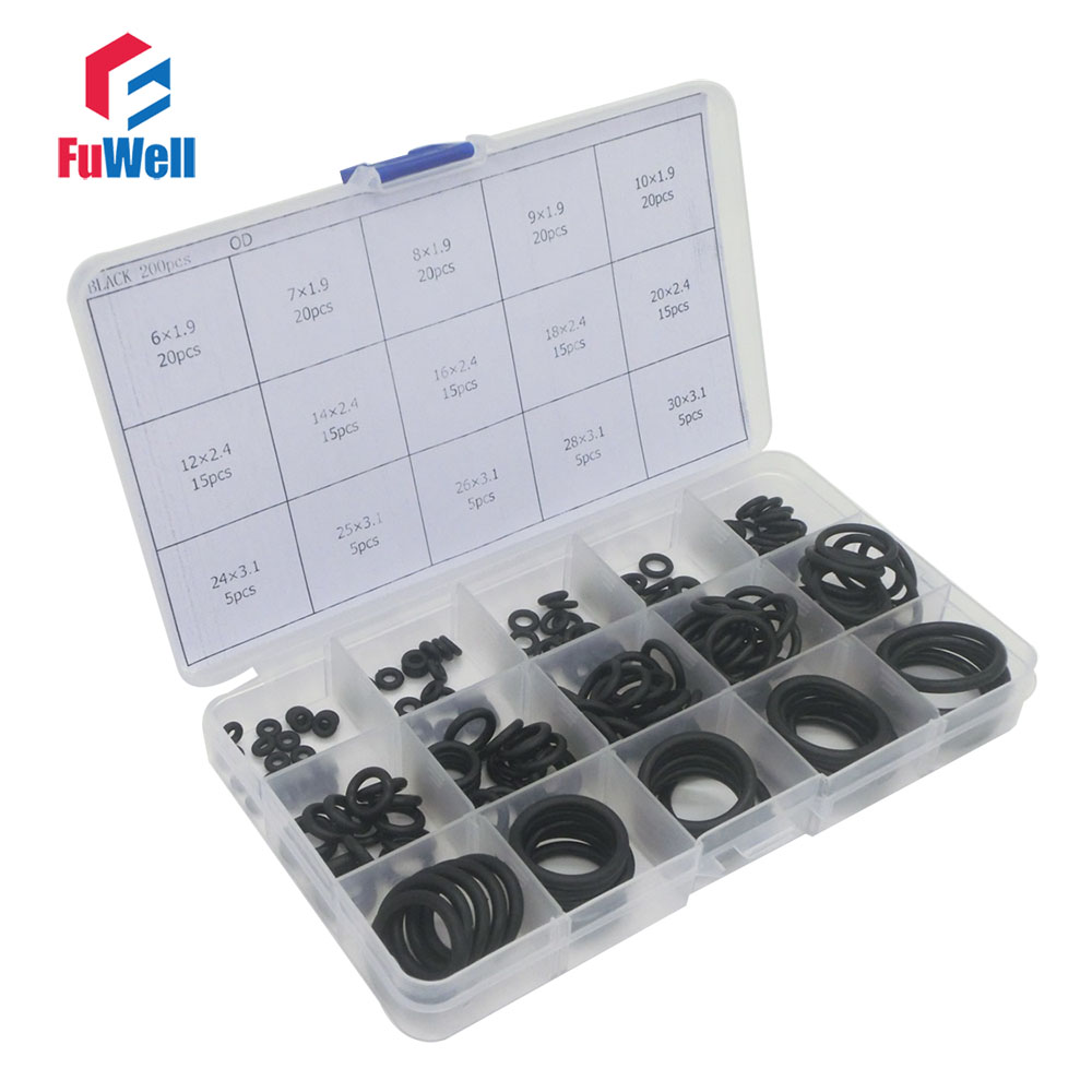 200pcs Black NBR O Ring Seal Kit 15 Different Sizes O-ring Gasket Set Good Oil Resistant O Ring Assortment Set with Plastic Case for epson stylus o ring 3 2mm 200pcs uv dx7 damper 100pcs