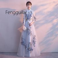 2019 Traditional Embroidery Floral Cheongsam Elegant Half Sleeve Chinese Women Evening Dress Vintage Oriental Bride Wedding Qipa