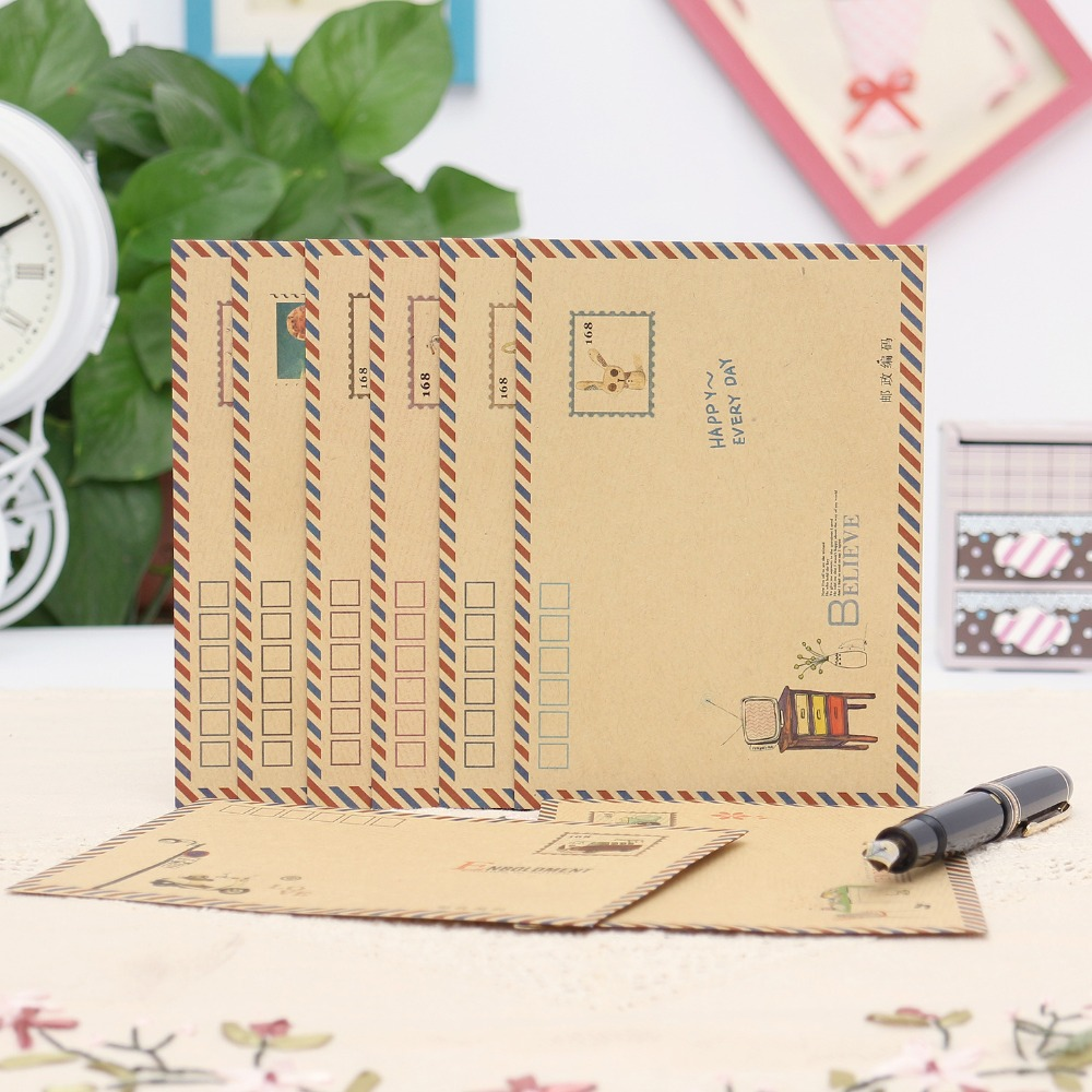 8 Pcs/lot 17.5*12.5cm Large Postcard Envelopes For Wedding Business Kraft Envelope Vintage Wallet Envelope For Gift