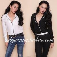 Free Shipping 2017 Spring New Loose Slim Black White Deep V Neck Long Sleeve Shirt Single