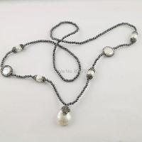 3 Stränge Pflastern Rhinestone Natural Perle Edelstein Halskette mit 3mm Schwarz Hämatit Perlen und Tropfen Perle Anhänger Charme Halskette
