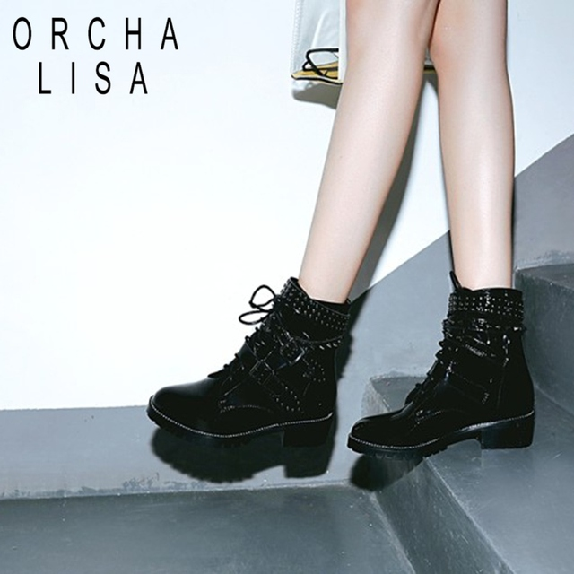 6aef5599206a ORCHA LISA Fashion Winter Shoes Women Real Leather Ankle Boots Women Cross  Strap Agrafe Rivets Booties