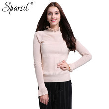 Sparsil Women's Autumn Ruffled Collar Cashmere Knitted Sweater Lady Hollow Design Flare Sleeve Knitwear Pullover Sweaters