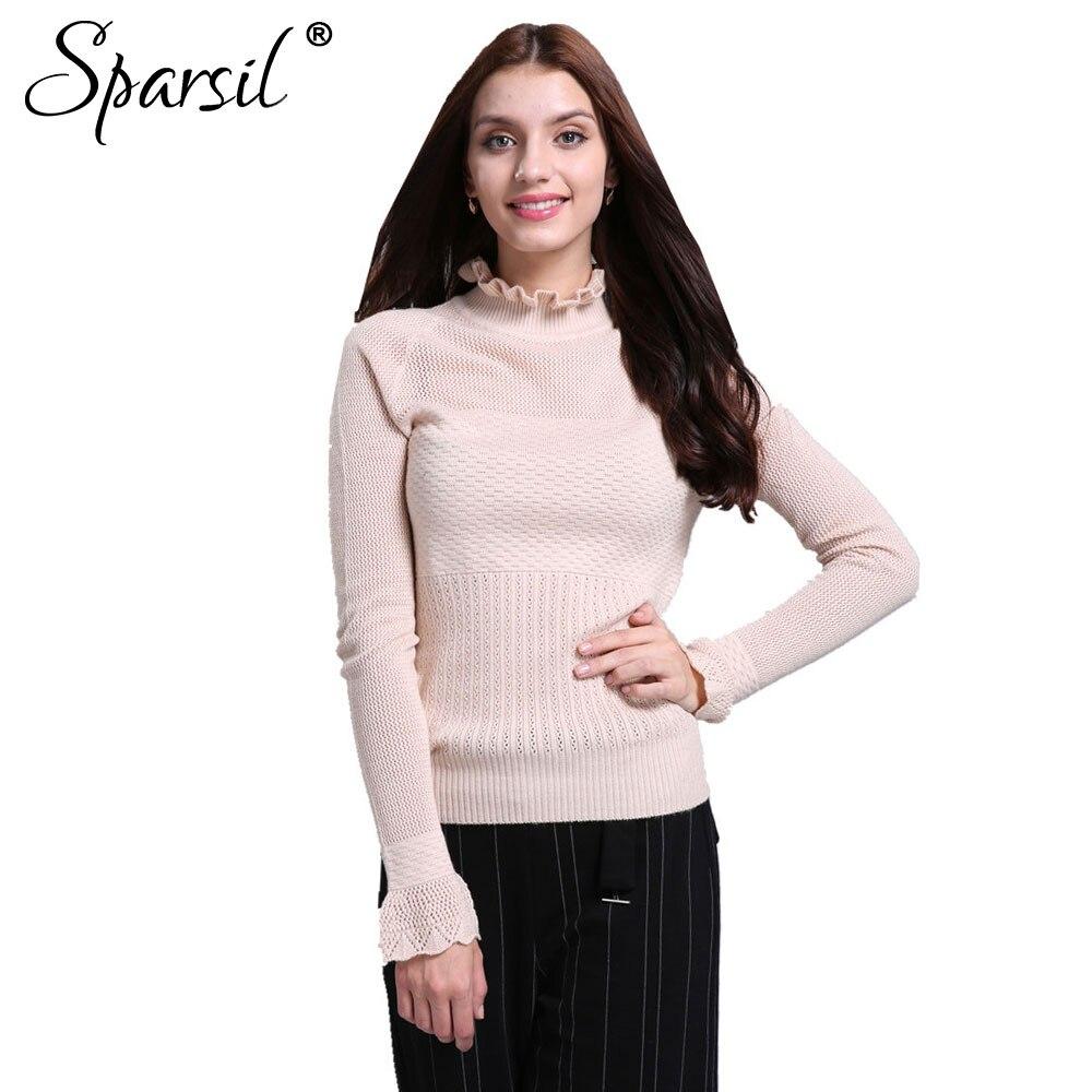 a5b628d6f3 Sparsil mujeres otoño rizado collar Cachemira de punto suéter señora hueco  diseño Flare manga punto pullover Suéteres