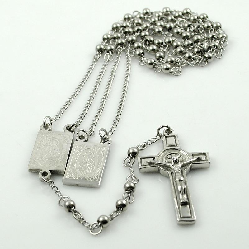 AMUMIU Gold Farbe Rosenkranz Perlen Jesus Stück Kreuz Religiöse - Modeschmuck - Foto 6