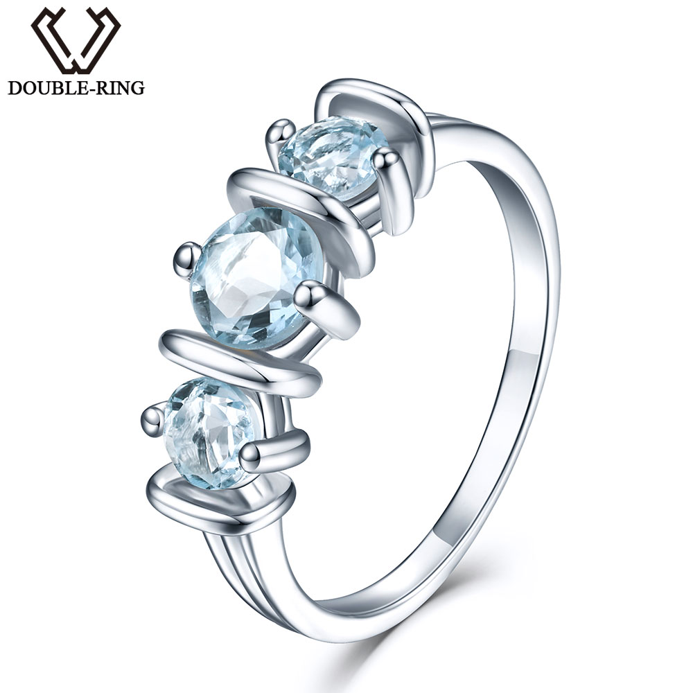 DOUBLE R 1 14ct Natural Blue Topaz Gemstone 925 Sterling Silver Rings for Womens
