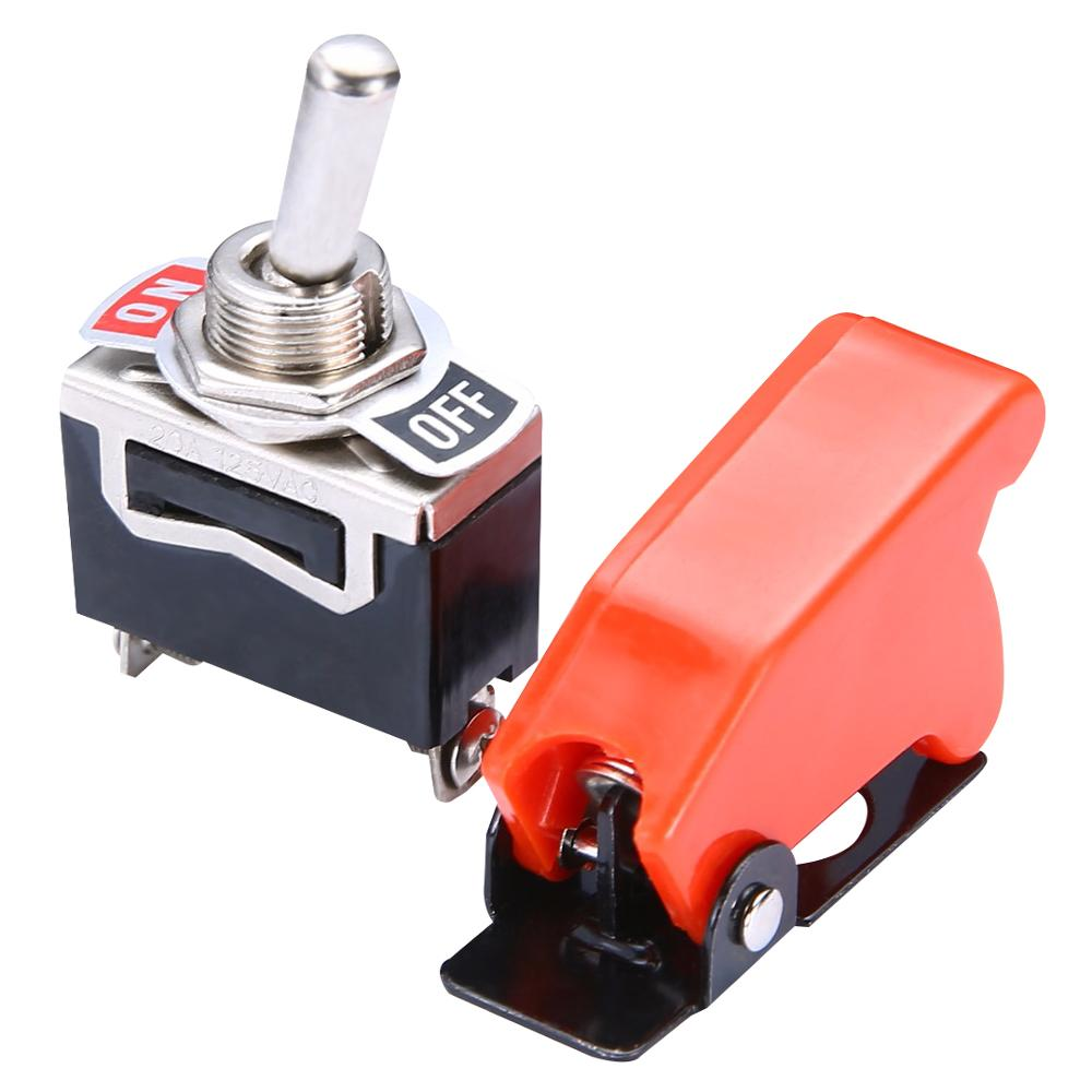 Durable Car Racing ON/OFF SPST Toggle Switch Metal Lever Car Dash Light With Missile Cover Red + Black