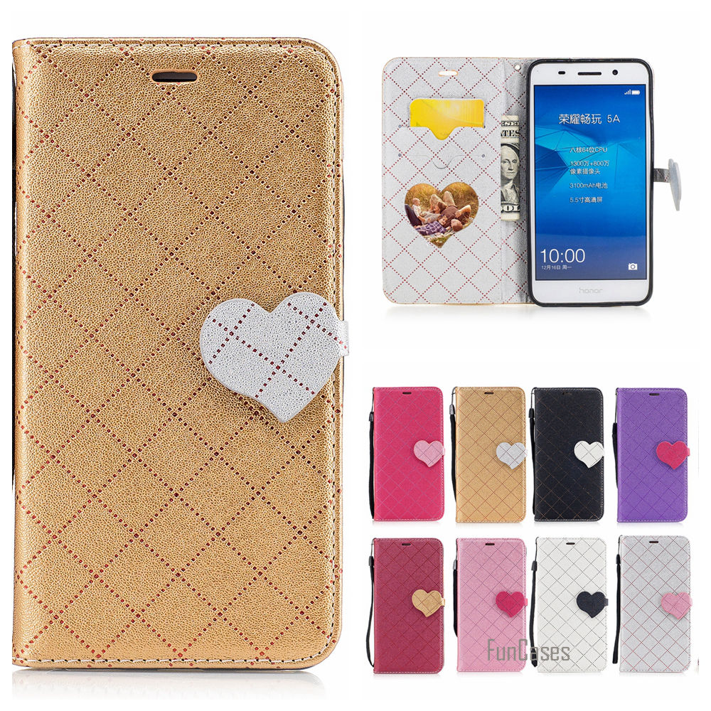 Cute Love Heart PU Leather Case For Huawei Y6 ii Hit Color Couro Phone bag For Huawei Honor 5A LYO-L21 Etui Caso Tiron Capinhas