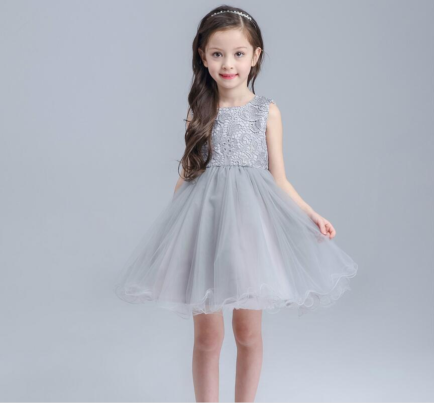Sleeveless Lace Flower Satin Bowknot Little Girls Birthday Party Dress Clothes Tutu Flower Girl Wedding Dress Pegeant for Girl 2016 new girls clothes 100% cotton cute pink gray lace dress for the girl princess dress art bowknot sleeveless dress