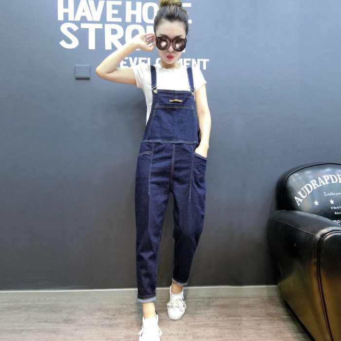Cynthia Store 2017 autumn sexy lace up denim long rompers womens jumpsuit pocket eyelets jean combinaison femme overalls playsuit