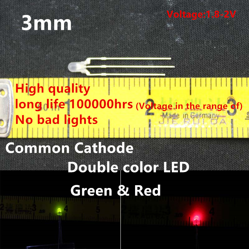 High quality 20pcs LED 3mm Round Diffused Red & Green double Color Common Cathode LED Diode Light Emitting Diode
