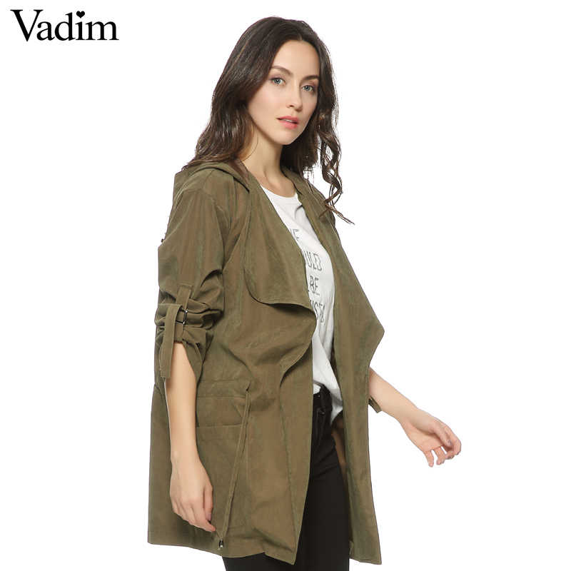 Frauen mit kapuze langen graben casual lose langarm solide mäntel casaco feminine Einstellbare Taille straße tragen tops CT1083