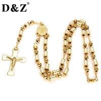 D & Z Złoty Kolor Jezus Krzyż Wisiorek Naszyjnik Krucyfiks Różaniec Dziewica Maryja Koraliki Strand Naszyjnik Ze Stali Nierdzewnej dla Chrystusa biżuteria