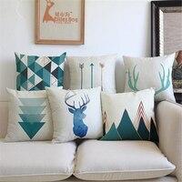 Nórdicos geométrica flecha impresión sobre cojín decorativo cojín para sofá o asiento de coche de lino de algodón cojín de venado decoración de la habitación
