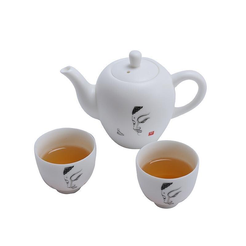 Ceramic Tea Set Include 1 Teapot 2 Teacups Retro Buddha's Head Printed Teapot Kettle Chinese Travel Ceramic Portable Teaset