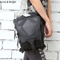 Стимпанк Ретро Рок Черная Кожаная Сумка Пакеты Женщины Мотоцикл Талии Ногой Мешок
