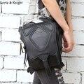 Steampunk Retro Rock Black Leather Messenger Bag Packs Women Motorcycle Waist Leg Bag