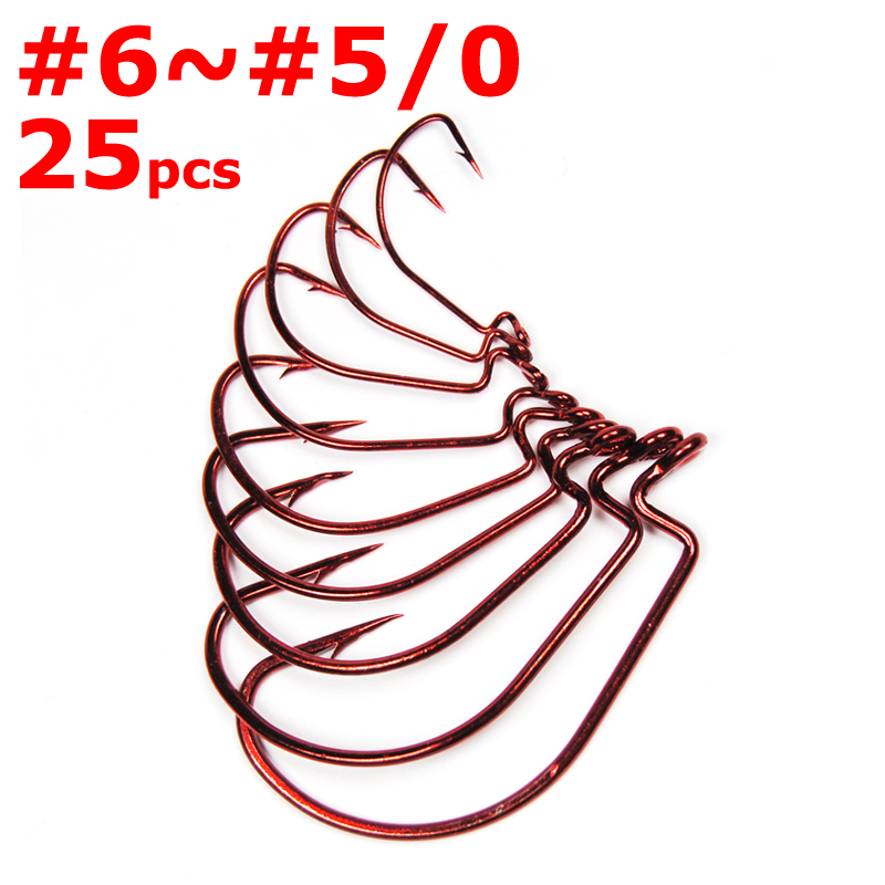 25pcs Sharp Bleeding Bait Wide Gap Hook Carolina/Texas Rig Red Wrom Hooks for Soft Plastic Lure Bass Fishing Fishhook [YG83206R]