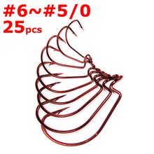25pcs Sharp Bleeding Bait Wide Gap Hook Carolina/Texas Rig Red Wrom Hooks for Soft Plastic Lure Bass Fishing Fishhook [YG83206R]