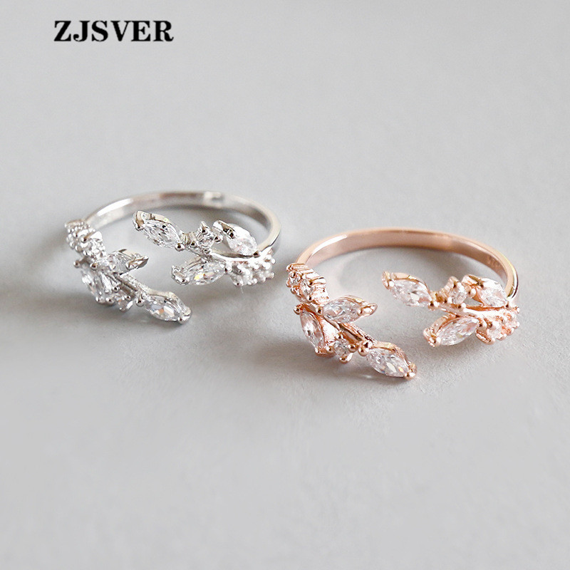 ZJSVER Fine Jewelry 925 Sterling Silver Rings Fashion Rose Golden/Silver Micro-set Crystal Leafs Opening Adjustable Women Ring(China)