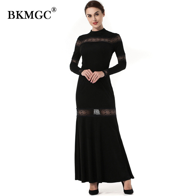 BKMGC WY1 Black Lace Patchwork 2017 Custom color Women Sexy Lace Cuff Dresses Empire Slim A