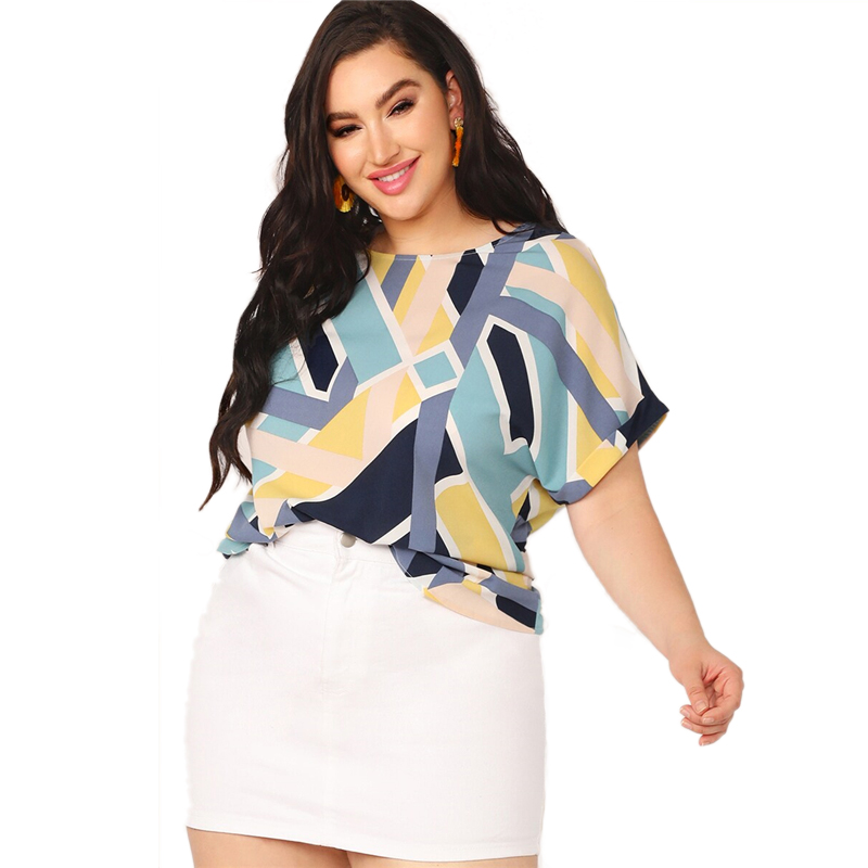 SHEIN Plus Size Multicolor Geo Print Cuffed Sleeve Top Blouse Women Summer Casual Colorblock Boat Neck Roll Up Sleeve Blouses
