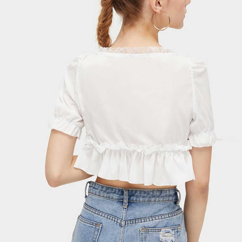Женский шифоновый короткий рукав свободный гофрированный кроп Топ сплошной цвет рубашка для лета пляж NGD88