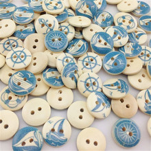 50Pcs Wholesale Blue Print Sea anchor Wood Buttons Clothing Sewing Tool WB217