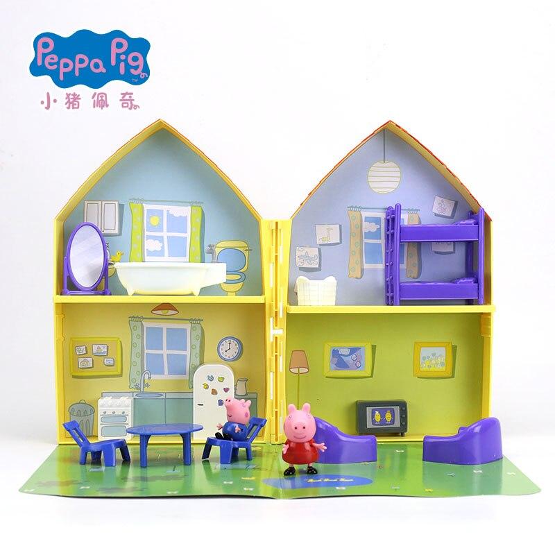 2019 New Genuine PEPPA PIG peppa pig's house playset with Peppa George figure KIDS TOY children's Birthday gift Hot sale