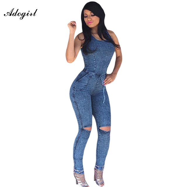 e92e3aaaff43 Adogirl Overol de Mezclilla de Las Mujeres Delgadas Atractivas Bodycon  Rodilla Jeans Mono Sexy Hombro Mamelucos Para Mujer Mono Combinaison Femme  en ...