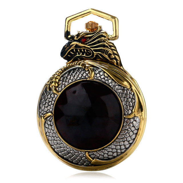 Clock Necklace Gold Vintage Watch Pocket Watches Luxury New Evil Dragon Big Red Crystal  Women Chain Retro Red Garnet Inset