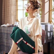 Summer pajamas set cotton 2 for women round neck short-sleeved T-shirt +7 pants pcs loose leisure sports plus size