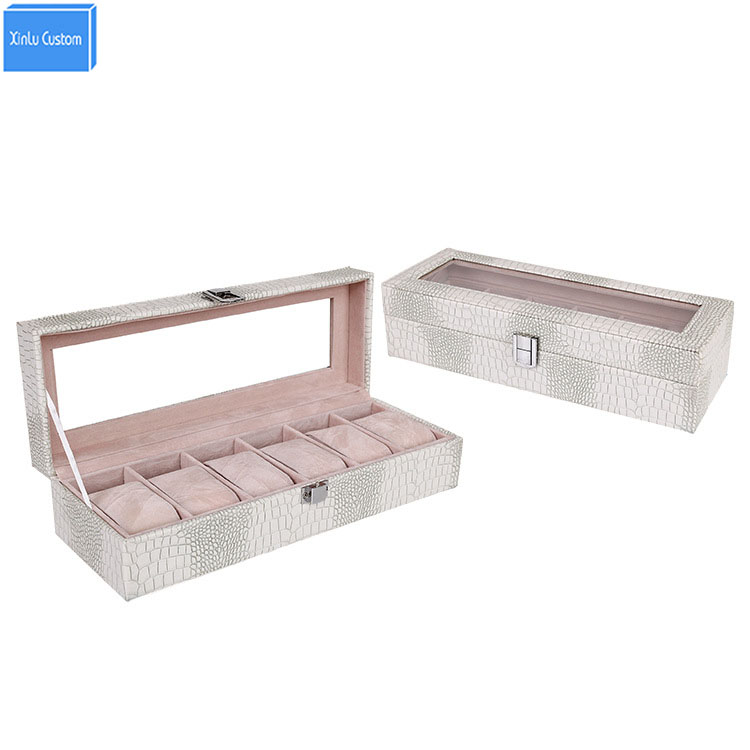Gift for Women/Wife/Mother/Daughter Watch Box 6 Grids Case PU Leather Window Case Luxury Brand Watch/Jewelry/Bracelet Organizers