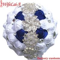 White Royal Blue Rose Flower Bride Bouquet de noiva Luxury Crystal Bridal Wedding Mariage Bouquet Flowers W228 11