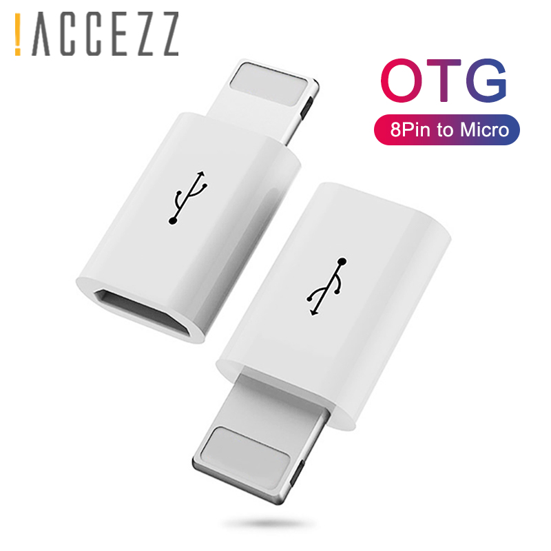 !ACCEZZ OTG Adapter Micro USB Cable To Lighting Converter For Apple Iphone 5 6 7 X 8 Plus XS MAX XR Charging Data Sync Connector