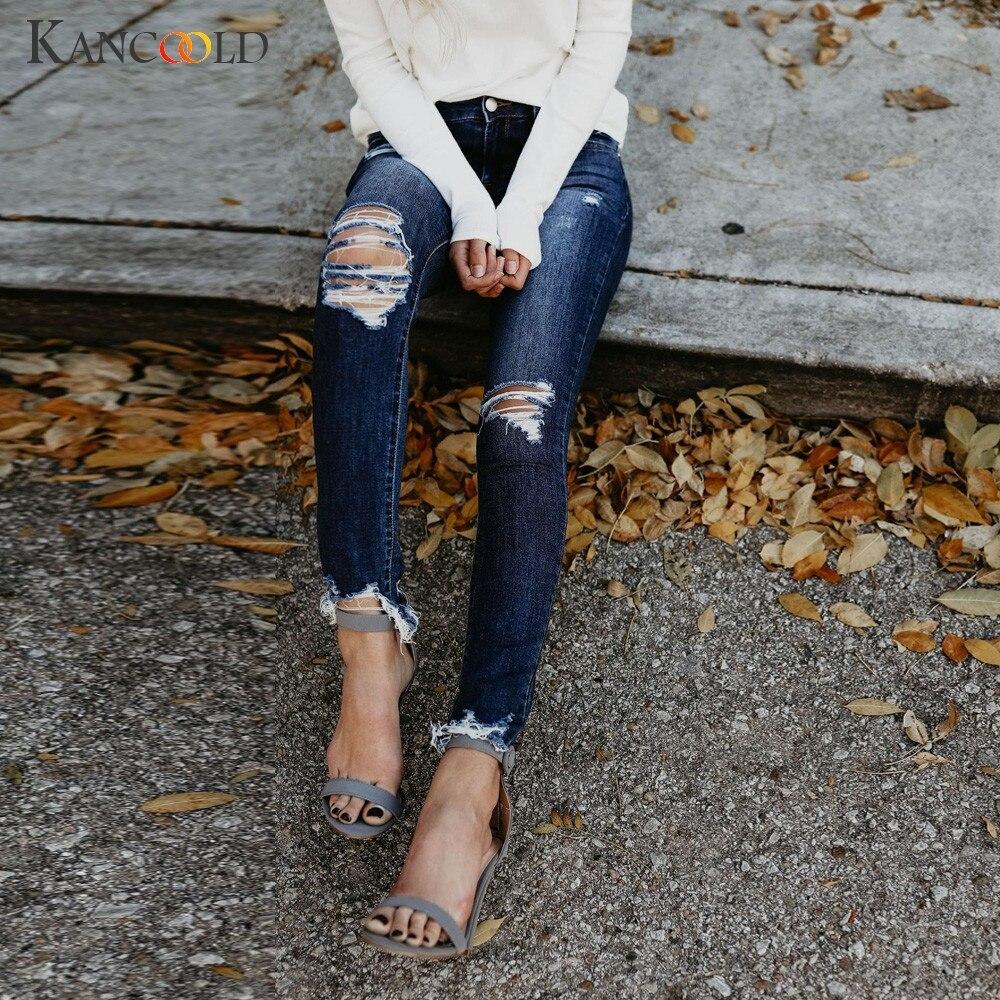 Jeans women fashion hight waisted skinny hole denim jeans stretch slim pants calf length jeans woman 2018oct24
