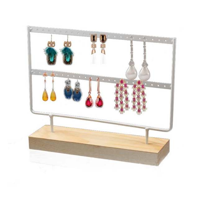 Holes Wooden Earrings Jewelry Organizer